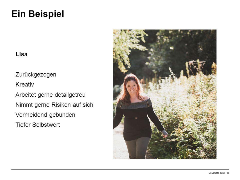 Ein Beispiel Universität Basel22 Lisa Zurückgezogen Kreativ Arbeitet gerne detailgetreu Nimmt gerne Risiken auf sich Vermeidend gebunden Tiefer Selbstwert