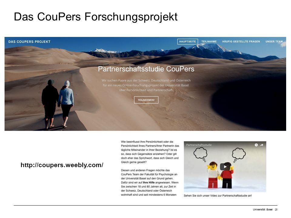 Universität Basel25 Das CouPers Forschungsprojekt http://coupers.weebly.com/