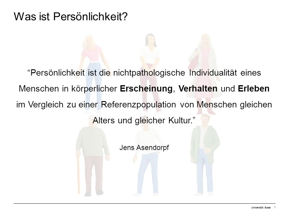 1.Persönliche Entwicklung durch Rollenübernahme 2.Persönliches Wachstum in der Partnerschaft 3.Selbstregulierte Entwicklung Universität Basel38 Kann ich meine Persönlichkeit verändern?