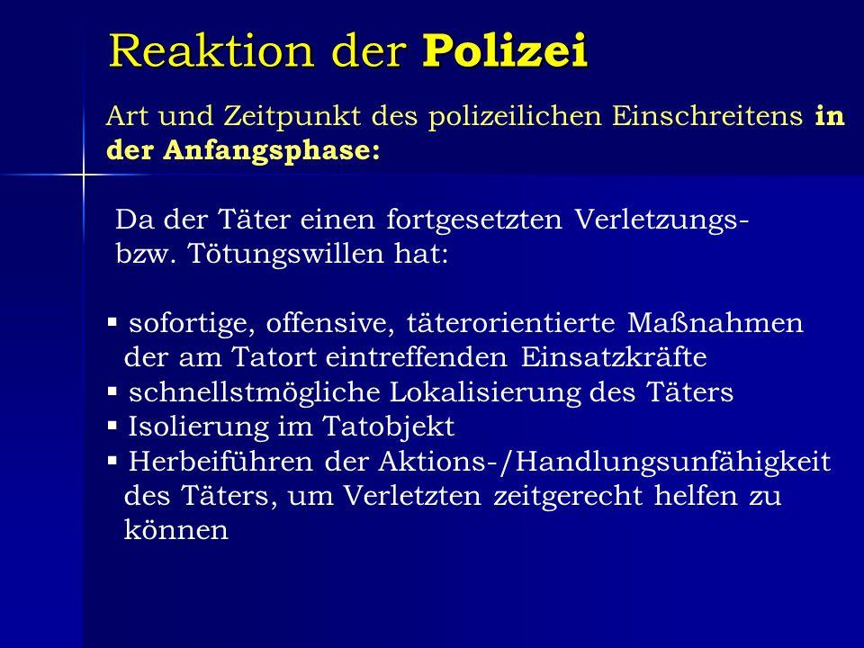 Reaktion der Polizei Art und Zeitpunkt des polizeilichen Einschreitens in der Anfangsphase: Da der Täter einen fortgesetzten Verletzungs- bzw.