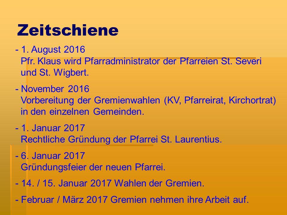 Zeitschiene - 1. August 2016 Pfr. Klaus wird Pfarradministrator der Pfarreien St.
