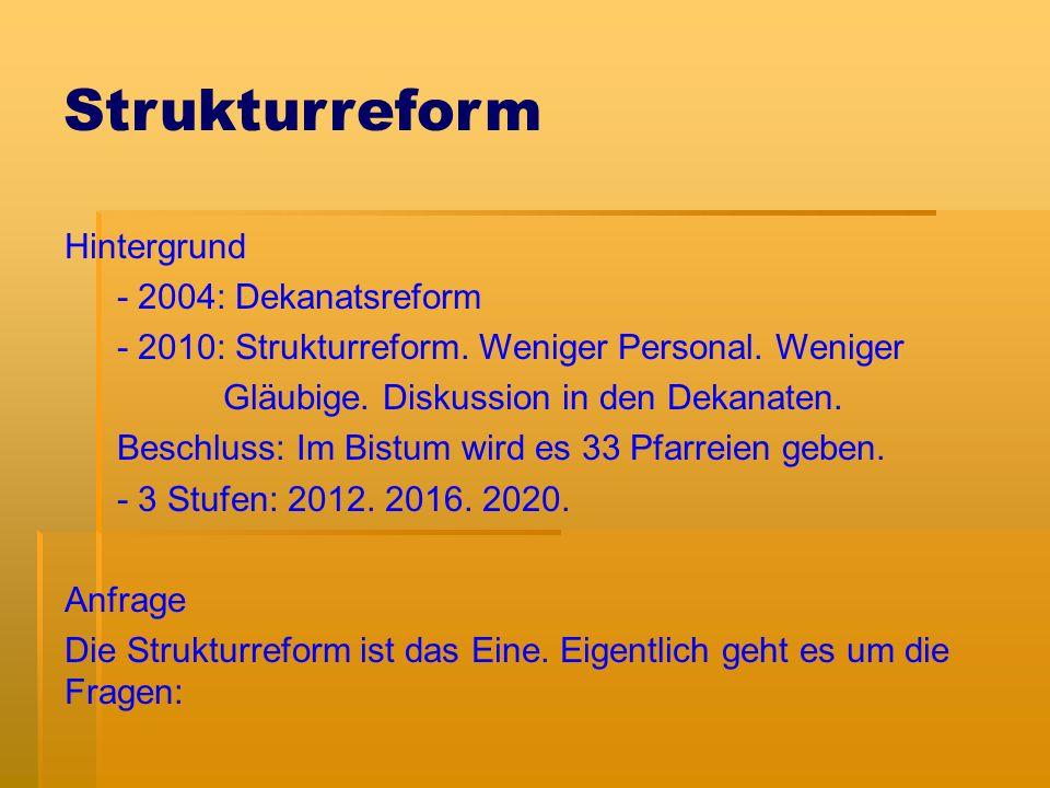 Strukturreform Hintergrund - 2004: Dekanatsreform - 2010: Strukturreform.