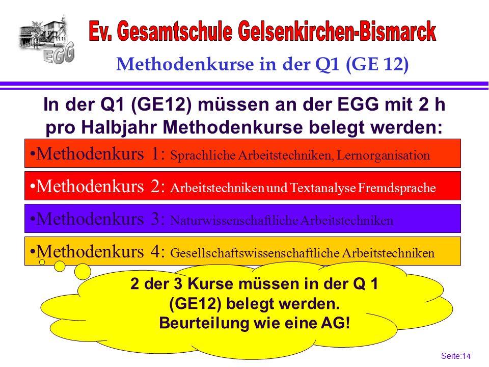 Seite:14 14 Methodenkurs 4: Gesellschaftswissenschaftliche Arbeitstechniken Methodenkurs 3: Naturwissenschaftliche Arbeitstechniken Methodenkurs 1: Sprachliche Arbeitstechniken, Lernorganisation Methodenkurs 2: Arbeitstechniken und Textanalyse Fremdsprache In der Q1 (GE12) müssen an der EGG mit 2 h pro Halbjahr Methodenkurse belegt werden: 2 der 3 Kurse müssen in der Q 1 (GE12) belegt werden.