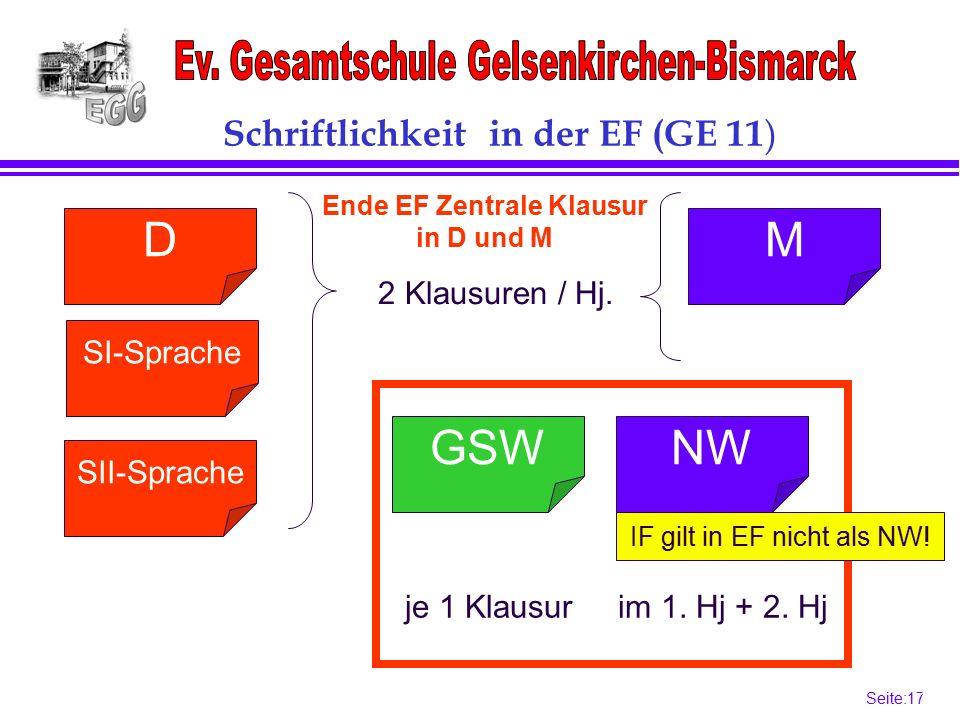 Seite:17 17 SII-Sprache Schriftlichkeit in der EF (GE 11 ) SI-Sprache DM NWGSW 2 Klausuren / Hj.