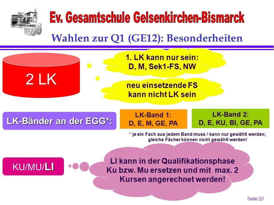 Seite:22 22 LK-Bänder an der EGG*: LI KU/MU/ LI 2 LK Wahlen zur Q1 (GE12): Besonderheiten LK-Band 2: D, E, KU, BI, GE, PA 1.