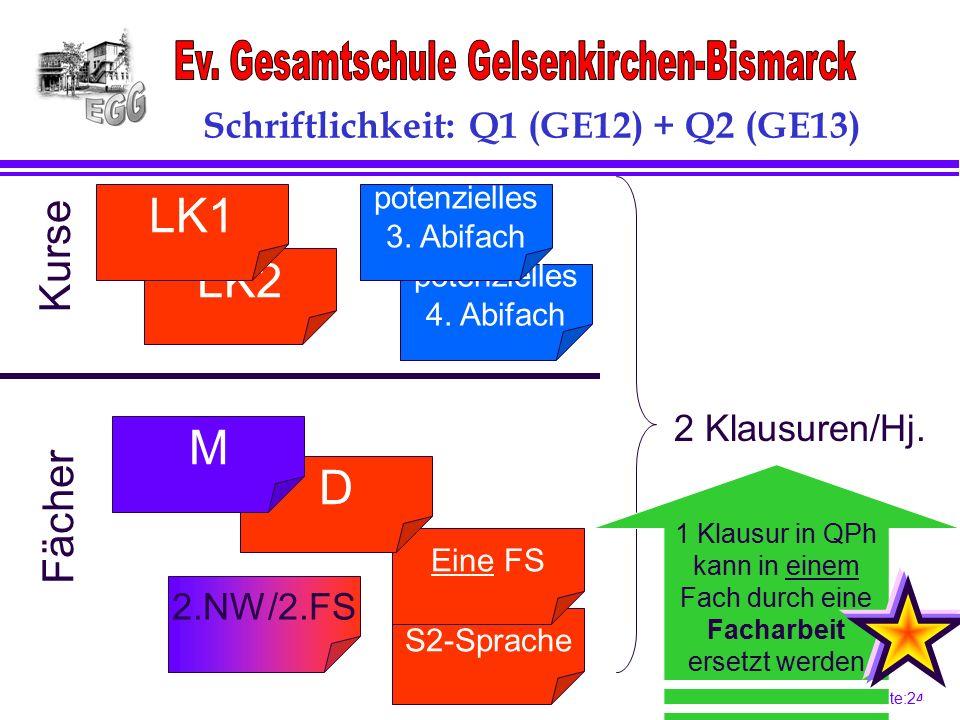 Seite:24 24 S2-Sprache Schriftlichkeit: Q1 (GE12) + Q2 (GE13) LK2 LK1 potenzielles 4.