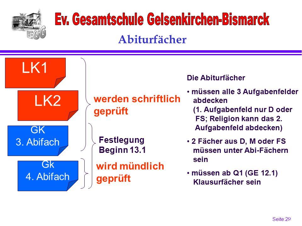 Seite:29 29 Festlegung Beginn 13.1 Abiturfächer LK1 werden schriftlich geprüft wird mündlich geprüft Die Abiturfächer müssen alle 3 Aufgabenfelder abdecken (1.