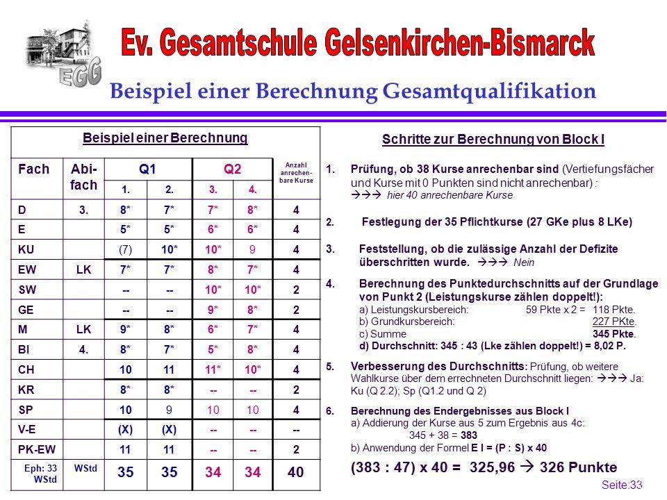 Seite:33 33 Beispiel einer Berechnung Gesamtqualifikation Beispiel einer Berechnung FachAbi- fach Q1Q2 Anzahl anrechen- bare Kurse 1.2.3.4.