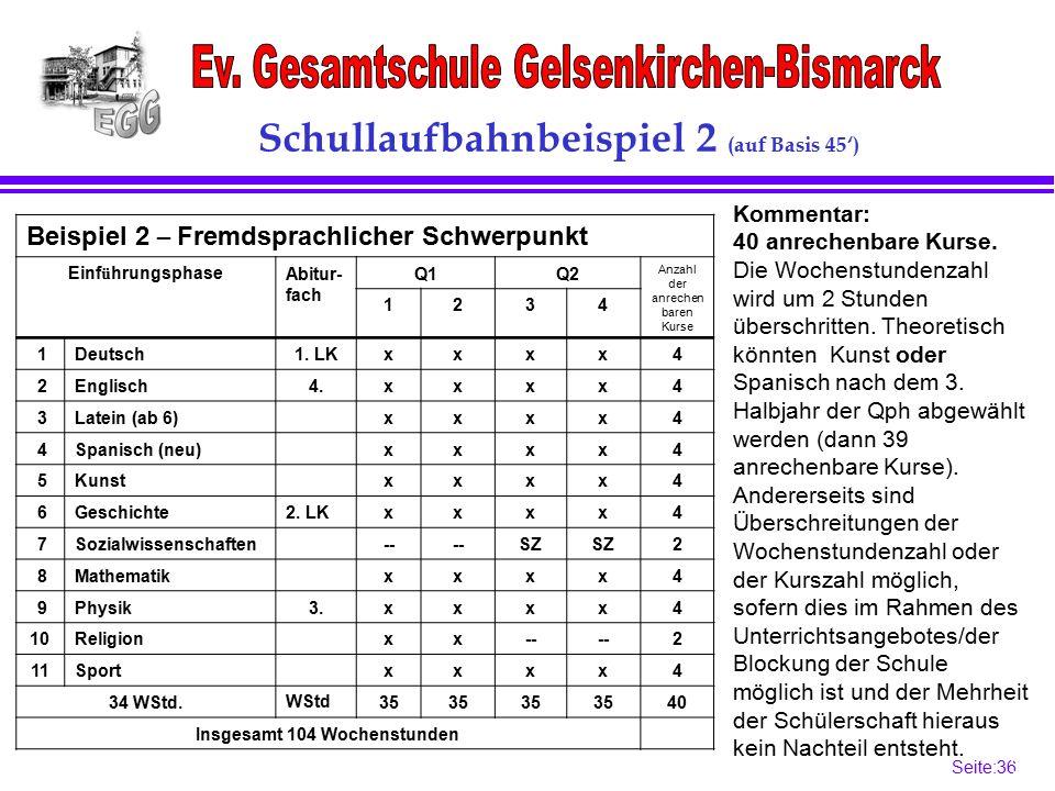 Seite:36 36 Schullaufbahnbeispiel 2 (auf Basis 45') Beispiel 2 – Fremdsprachlicher Schwerpunkt Einf ü hrungsphaseAbitur- fach Q1Q2 Anzahl der anrechen baren Kurse 1234 1Deutsch1.