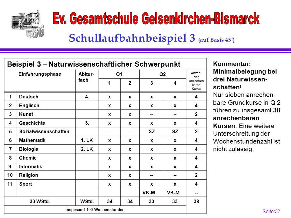 Seite:37 37 Schullaufbahnbeispiel 3 (auf Basis 45') Beispiel 3 – Naturwissenschaftlicher Schwerpunkt Einf ü hrungsphaseAbitur- fach Q1Q2 Anzahl der anrechen baren Kurse 1234 1Deutsch4.xxxx4 2Englischxxxx4 3Kunstxx-- 2 4Geschichte3.xxxx4 5Sozialwissenschaften-- SZ 2 6Mathematik1.