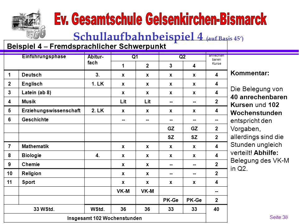 Seite:38 38 Schullaufbahnbeispiel 4 (auf Basis 45') Beispiel 4 – Fremdsprachlicher Schwerpunkt Einf ü hrungsphaseAbitur- fach Q1Q2 anrechen baren Kurse 1234 1Deutsch3.xxxx4 2Englisch1.