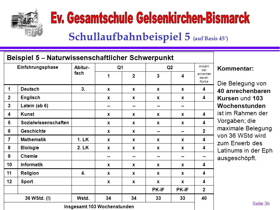 Seite:39 39 Schullaufbahnbeispiel 5 (auf Basis 45') Beispiel 5 – Naturwissenschaftlicher Schwerpunkt Einf ü hrungsphaseAbitur- fach Q1Q2 Anzahl der anrechen baren Kurse 1234 1Deutsch3.xxxx4 2Englischxxxx4 3Latein (ab 6)-- 4Kunstxxxx4 5Sozialwissenschaftenxxxx4 6Geschichtexx-- 2 7Mathematik1.