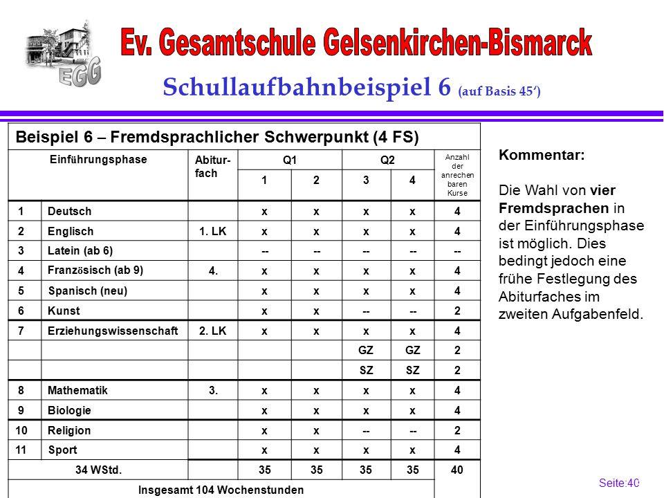 Seite:40 40 Schullaufbahnbeispiel 6 (auf Basis 45') Beispiel 6 – Fremdsprachlicher Schwerpunkt (4 FS) Einf ü hrungsphaseAbitur- fach Q1Q2 Anzahl der anrechen baren Kurse 1234 1Deutschxxxx4 2Englisch1.
