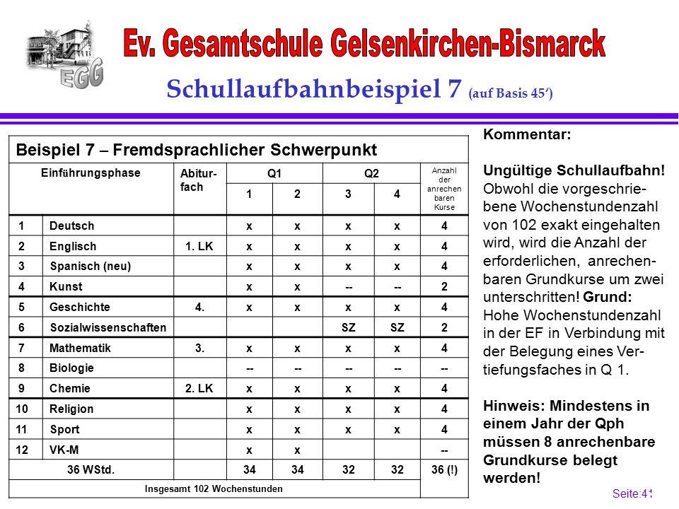 Seite:41 41 Schullaufbahnbeispiel 7 (auf Basis 45') Beispiel 7 – Fremdsprachlicher Schwerpunkt Einf ü hrungsphaseAbitur- fach Q1Q2 Anzahl der anrechen baren Kurse 1234 1Deutschxxxx4 2Englisch1.