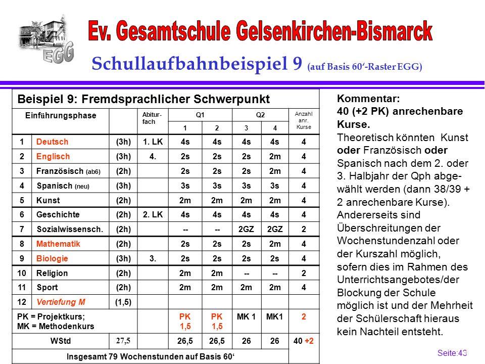 Seite:43 43 Schullaufbahnbeispiel 9 (auf Basis 60'-Raster EGG) Kommentar: 40 (+2 PK) anrechenbare Kurse.