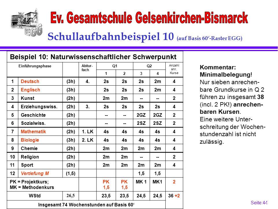 Seite:44 44 Schullaufbahnbeispiel 10 (auf Basis 60'-Raster EGG) Kommentar: Minimalbelegung.