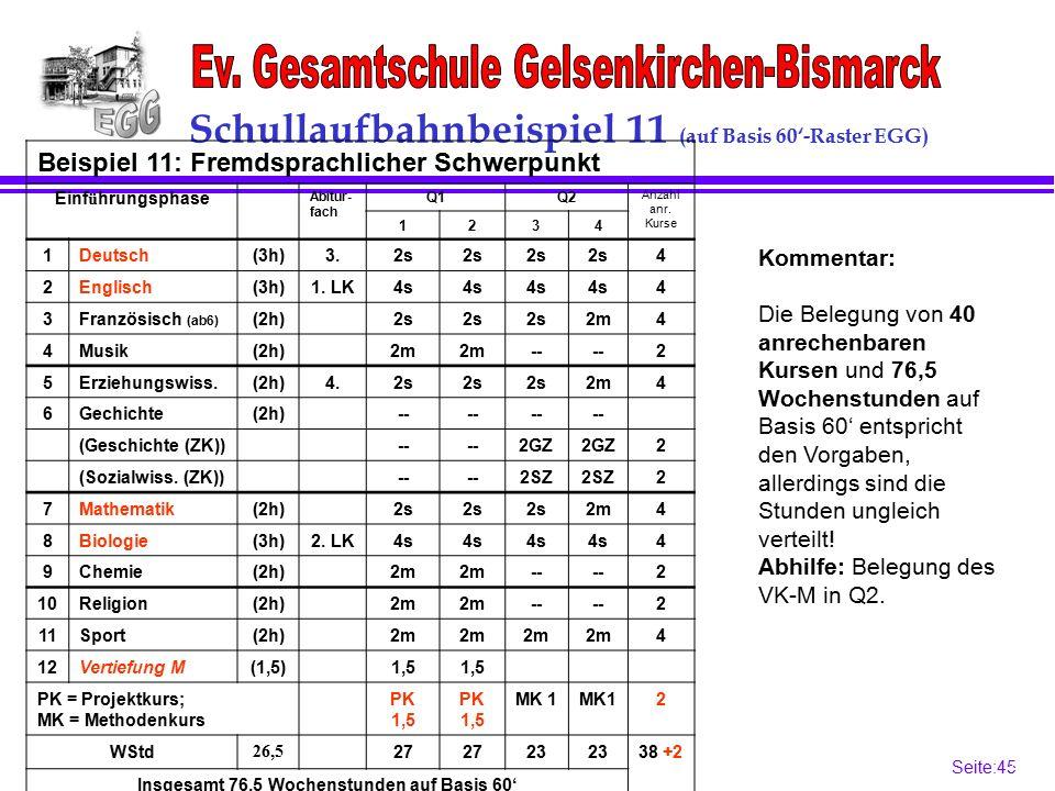 Seite:45 45 Schullaufbahnbeispiel 11 (auf Basis 60'-Raster EGG) Kommentar: Die Belegung von 40 anrechenbaren Kursen und 76,5 Wochenstunden auf Basis 60' entspricht den Vorgaben, allerdings sind die Stunden ungleich verteilt.