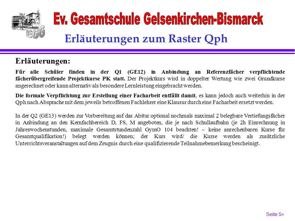 Seite:54 54 Erläuterungen zum Raster Qph Erläuterungen: Die formale Verpflichtung zur Erstellung einer Facharbeit entfällt damit, es kann jedoch auch weiterhin in der Qph nach Absprache mit dem jeweils betroffenen Fachlehrer eine Klausur durch eine Facharbeit ersetzt werden.