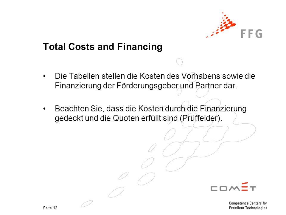 Seite 12 Total Costs and Financing Die Tabellen stellen die Kosten des Vorhabens sowie die Finanzierung der Förderungsgeber und Partner dar.