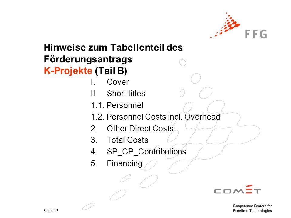 Seite 13 Hinweise zum Tabellenteil des Förderungsantrags K-Projekte (Teil B) I.Cover II.Short titles 1.1. Personnel 1.2. Personnel Costs incl. Overhea