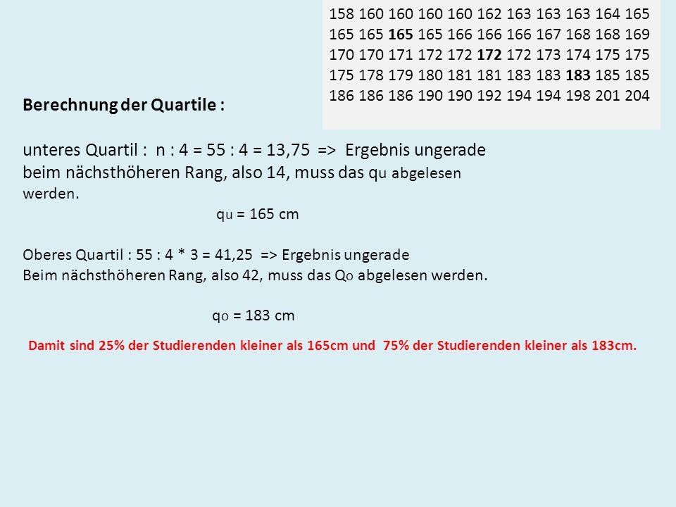 Berechnung der Quartile : unteres Quartil : n : 4 = 55 : 4 = 13,75 => Ergebnis ungerade beim nächsthöheren Rang, also 14, muss das q u abgelesen werden.