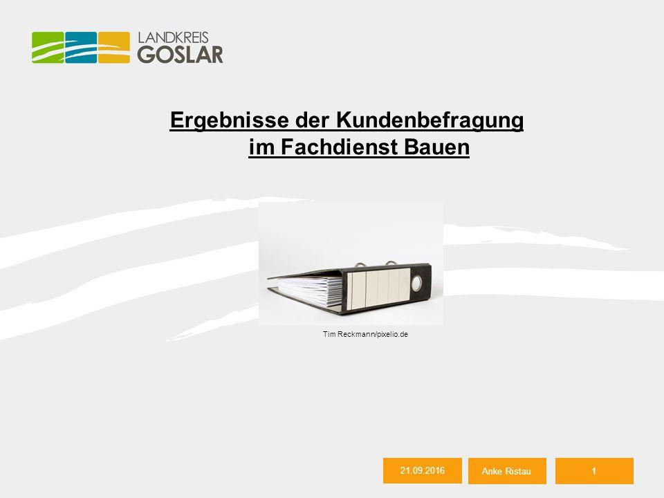 21.09.2016 Anke Ristau2 Agenda 1.Ziel der Kundenbefragung 2.