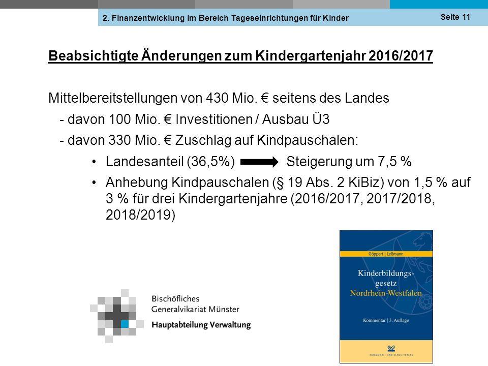 Beabsichtigte Änderungen zum Kindergartenjahr 2016/2017 Seite 11 2. Finanzentwicklung im Bereich Tageseinrichtungen für Kinder Mittelbereitstellungen