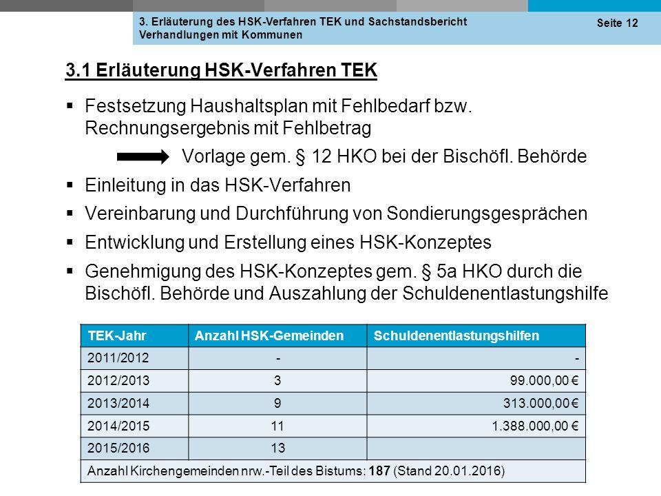 3.1 Erläuterung HSK-Verfahren TEK  Festsetzung Haushaltsplan mit Fehlbedarf bzw. Rechnungsergebnis mit Fehlbetrag Vorlage gem. § 12 HKO bei der Bisch