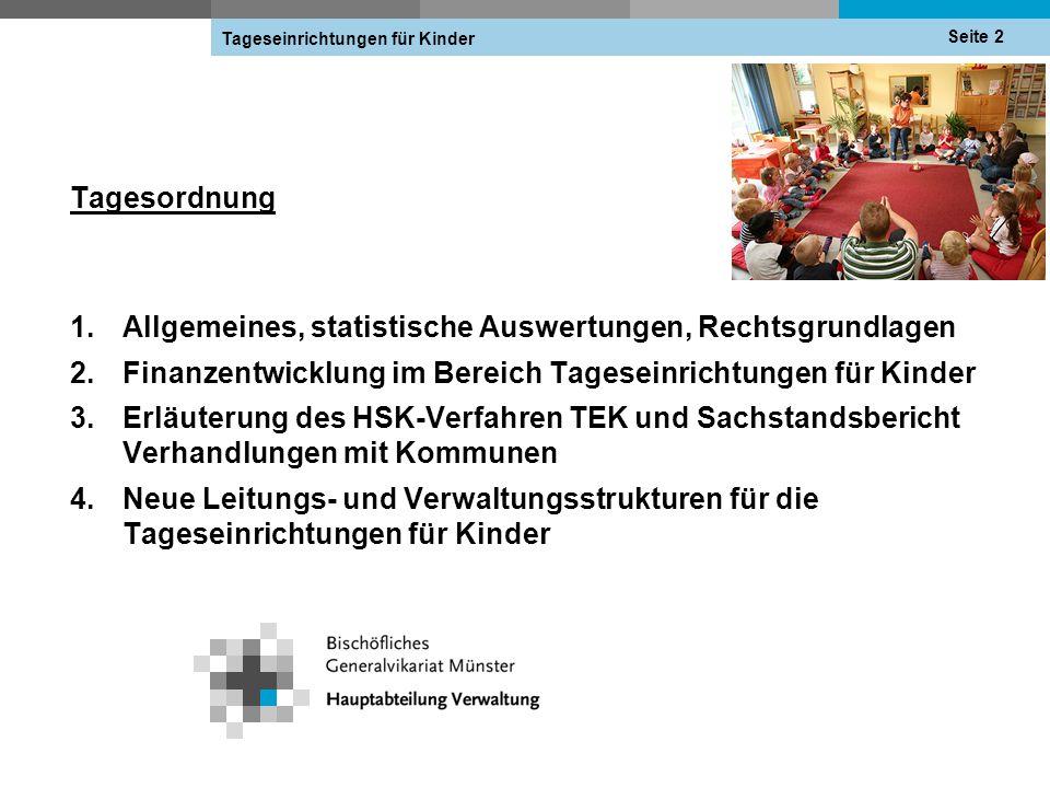 Tagesordnung 1.Allgemeines, statistische Auswertungen, Rechtsgrundlagen 2.Finanzentwicklung im Bereich Tageseinrichtungen für Kinder 3.Erläuterung des