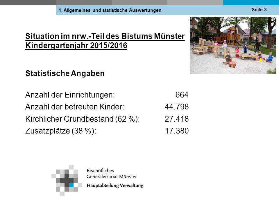 Situation im nrw.-Teil des Bistums Münster Kindergartenjahr 2015/2016 Statistische Angaben Anzahl der Einrichtungen: 664 Anzahl der betreuten Kinder:44.798 Kirchlicher Grundbestand (62 %):27.418 Zusatzplätze (38 %): 17.380 Seite 3 1.