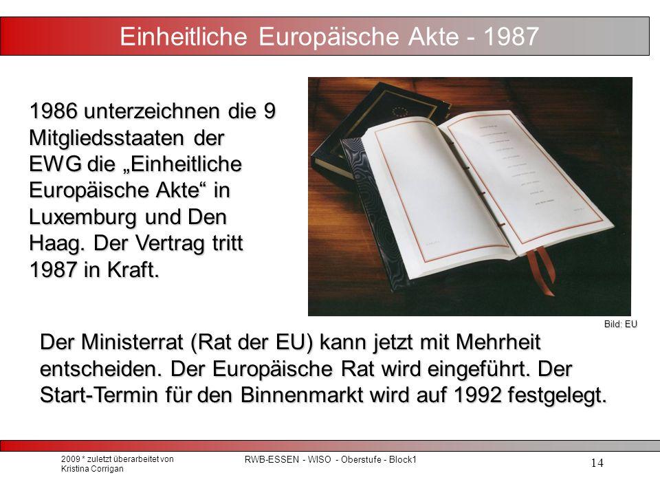 """2009 * zuletzt überarbeitet von Kristina Corrigan RWB-ESSEN - WISO - Oberstufe - Block1 14 Einheitliche Europäische Akte - 1987 1986 unterzeichnen die 9 Mitgliedsstaaten der EWG die """"Einheitliche Europäische Akte in Luxemburg und Den Haag."""