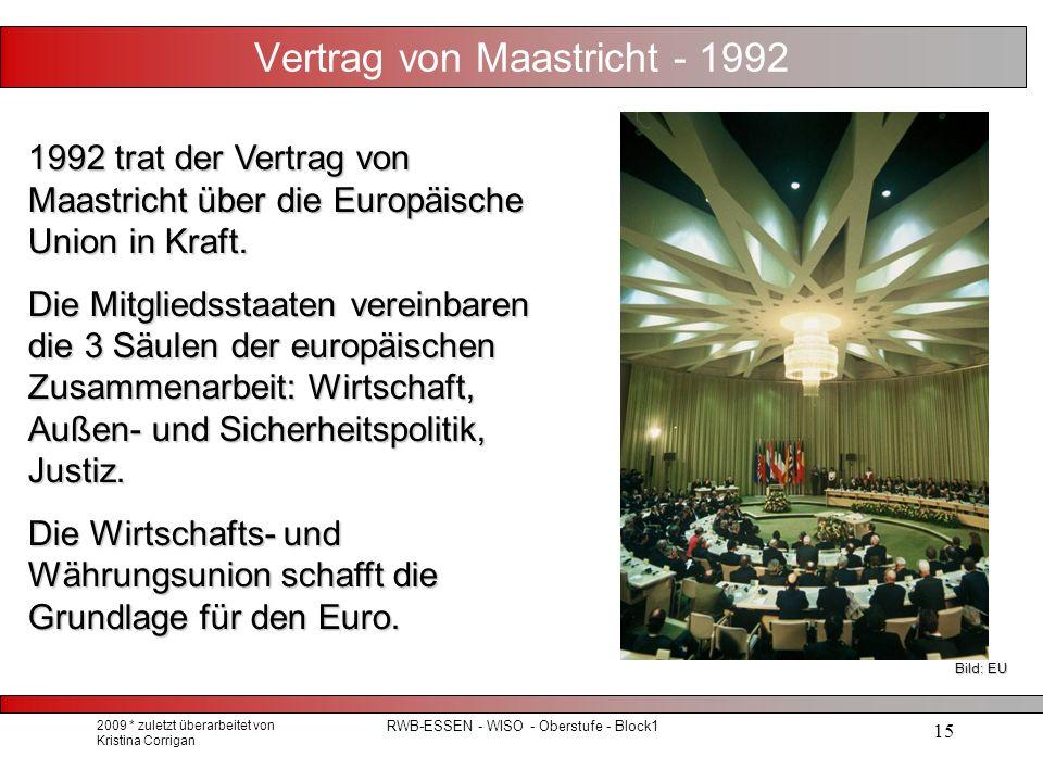 2009 * zuletzt überarbeitet von Kristina Corrigan RWB-ESSEN - WISO - Oberstufe - Block1 15 Vertrag von Maastricht - 1992 1992 trat der Vertrag von Maastricht über die Europäische Union in Kraft.