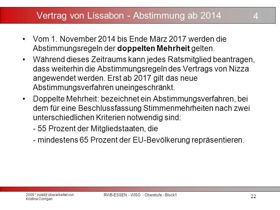 Vertrag von Lissabon - Abstimmung ab 2014 Vom 1.