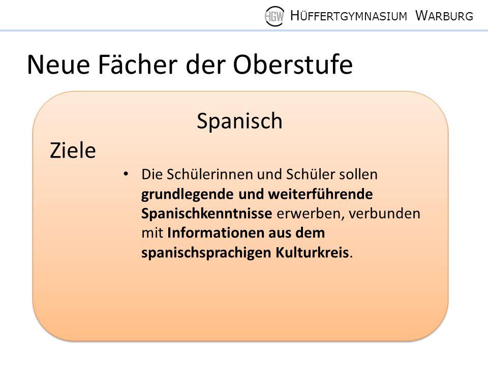 H ÜFFERTGYMNASIUM W ARBURG Neue Fächer der Oberstufe Spanisch Ziele Die Schülerinnen und Schüler sollen grundlegende und weiterführende Spanischkenntnisse erwerben, verbunden mit Informationen aus dem spanischsprachigen Kulturkreis.