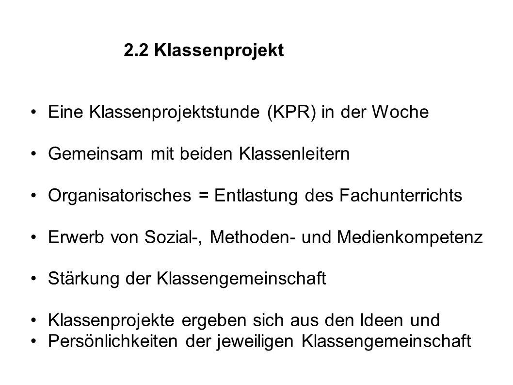 2.3 Differenzierungsbereich (WPF II) - ab Klasse 8: Wahl eines individ.