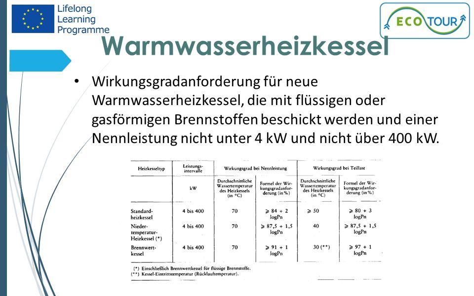 Warmwasserheizkessel 12 Wirkungsgradanforderung für neue Warmwasserheizkessel, die mit flüssigen oder gasförmigen Brennstoffen beschickt werden und einer Nennleistung nicht unter 4 kW und nicht über 400 kW.