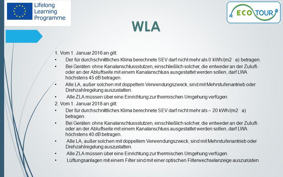 NWLA Mehrstufenantrieb oder Drehzahlregelung WRS und Einrichtung zur thermischen Umgehung Mindestrückwärmezahl Mindestventilatoreffizienz höchste innere spezifische Ventilatorleistung von Lüftungsbauteilen 8