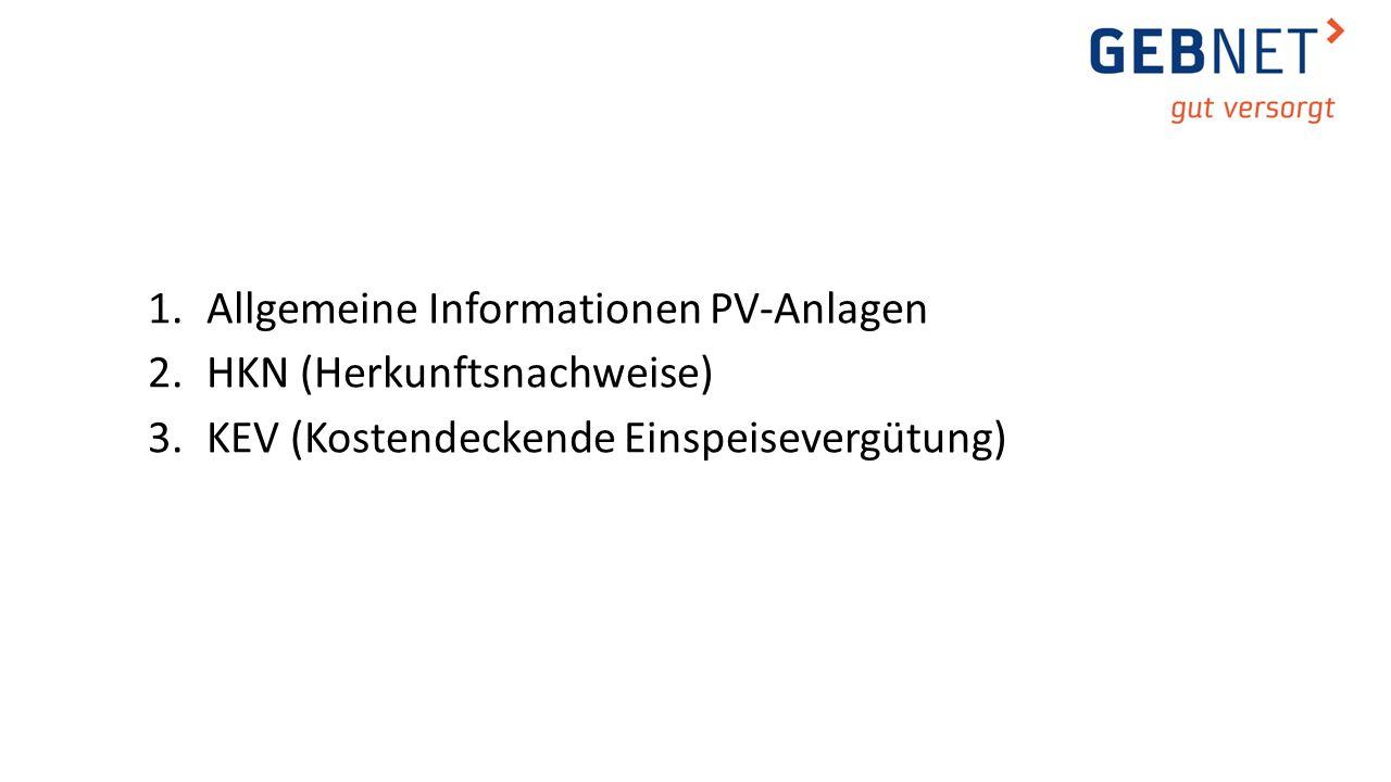 1.Allgemeine Informationen PV-Anlagen 2.HKN (Herkunftsnachweise) 3.KEV (Kostendeckende Einspeisevergütung)