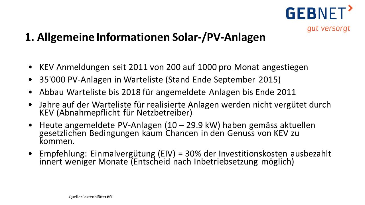 KEV Anmeldungen seit 2011 von 200 auf 1000 pro Monat angestiegen 35'000 PV-Anlagen in Warteliste (Stand Ende September 2015) Abbau Warteliste bis 2018