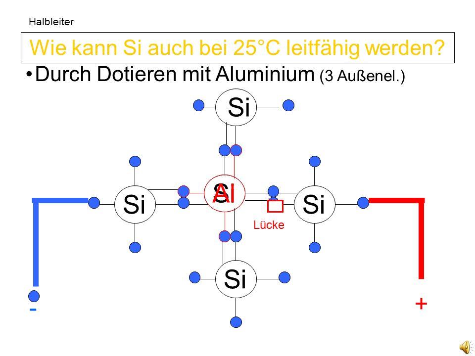Si Halbleiter Si Die Elektronen sitzen zu fest 8 Außenelektronen bedeutet sehr feste Bindung.