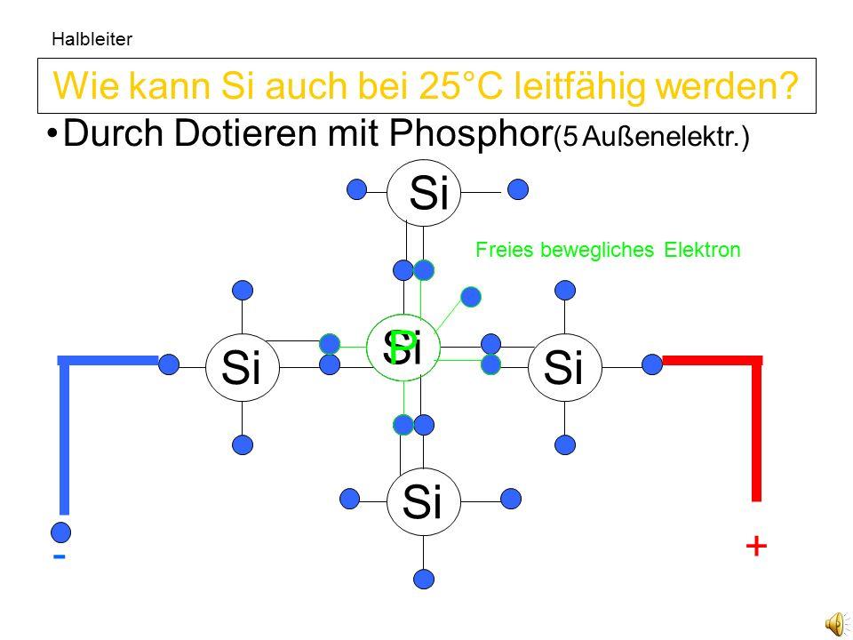 Si Halbleiter Si Durch Dotieren mit Aluminium (3 Außenel.) Wie kann Si auch bei 25°C leitfähig werden.