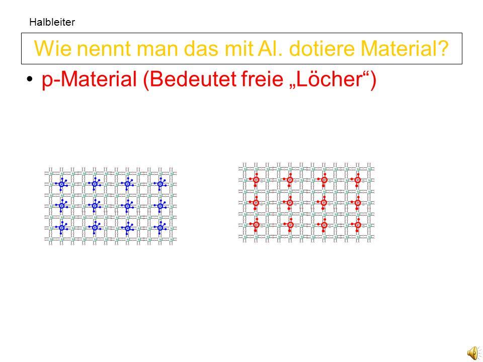 Halbleiter n-Material (Bedeutet freie Elektronen) Wie nennt man das mit P. dotiere Material?