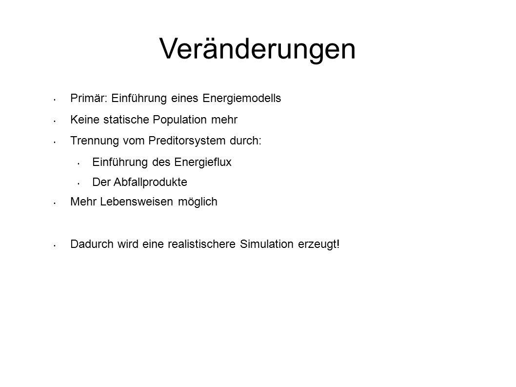 Veränderungen Primär: Einführung eines Energiemodells Keine statische Population mehr Trennung vom Preditorsystem durch: Einführung des Energieflux Der Abfallprodukte Mehr Lebensweisen möglich Dadurch wird eine realistischere Simulation erzeugt!