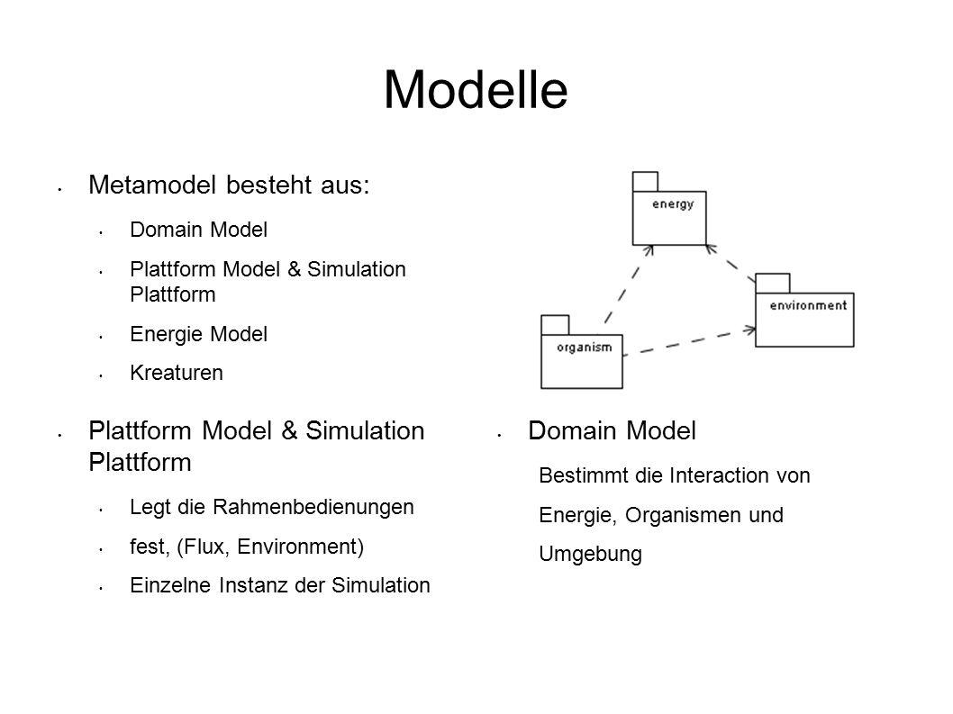 Modelle Metamodel besteht aus: Domain Model Plattform Model & Simulation Plattform Energie Model Kreaturen Domain Model Bestimmt die Interaction von Energie, Organismen und Umgebung Plattform Model & Simulation Plattform Legt die Rahmenbedienungen fest, (Flux, Environment) Einzelne Instanz der Simulation