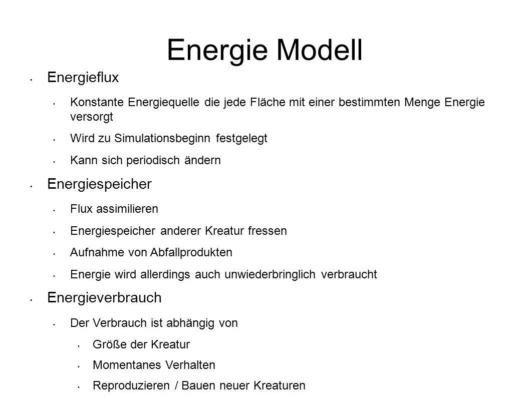 Energie Modell Energieflux Konstante Energiequelle die jede Fläche mit einer bestimmten Menge Energie versorgt Wird zu Simulationsbeginn festgelegt Ka