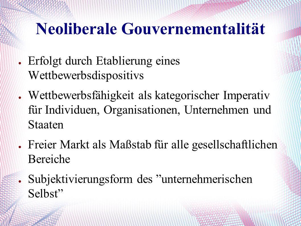 Neoliberale Gouvernementalität ● Erfolgt durch Etablierung eines Wettbewerbsdispositivs ● Wettbewerbsfähigkeit als kategorischer Imperativ für Individuen, Organisationen, Unternehmen und Staaten ● Freier Markt als Maßstab für alle gesellschaftlichen Bereiche ● Subjektivierungsform des unternehmerischen Selbst