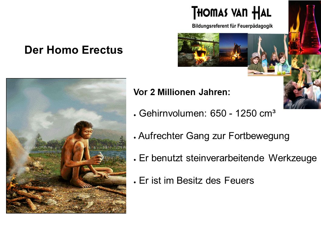 Der Homo Erectus Vor 2 Millionen Jahren: ● Gehirnvolumen: 650 - 1250 cm³ ● Aufrechter Gang zur Fortbewegung ● Er benutzt steinverarbeitende Werkzeuge ● Er ist im Besitz des Feuers