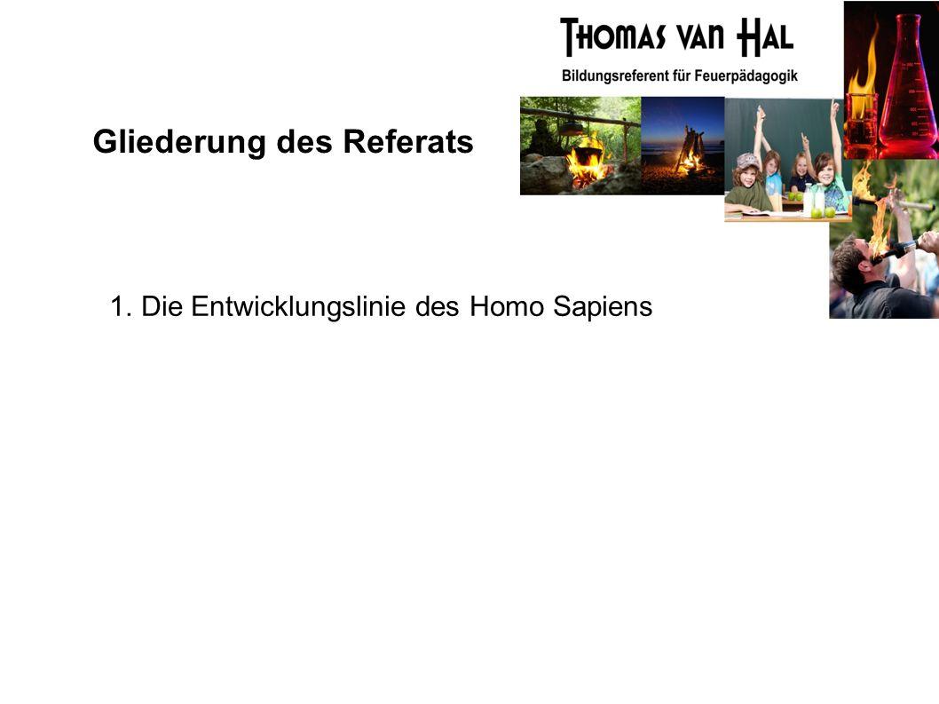 Gliederung des Referats 1. Die Entwicklungslinie des Homo Sapiens