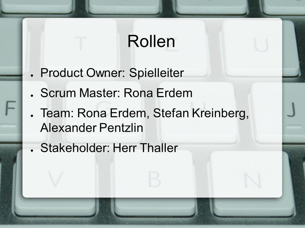 Rollen ● Product Owner: Spielleiter ● Scrum Master: Rona Erdem ● Team: Rona Erdem, Stefan Kreinberg, Alexander Pentzlin ● Stakeholder: Herr Thaller