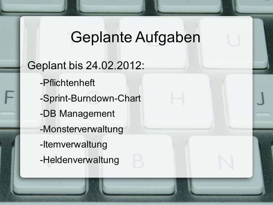 Geplante Aufgaben Geplant bis 24.02.2012: -Pflichtenheft -Sprint-Burndown-Chart -DB Management -Monsterverwaltung -Itemverwaltung -Heldenverwaltung